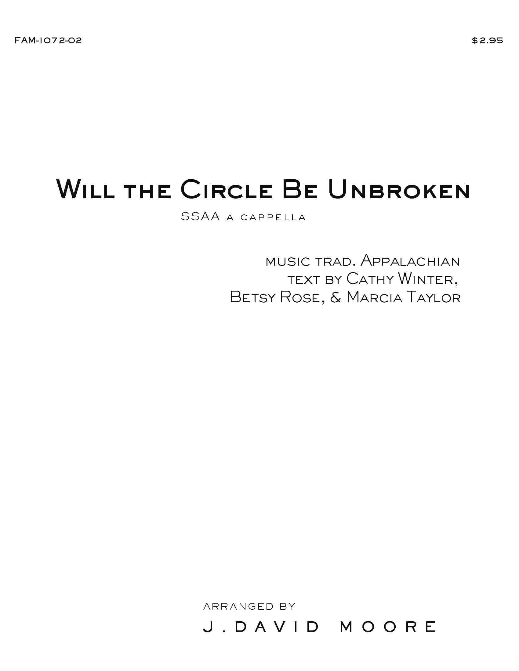 Will the Circle Be Unbroken (SATB) - Graphite Publishing